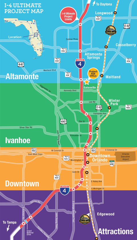 Map of the I-4 corridor and attractions for potential CRE development