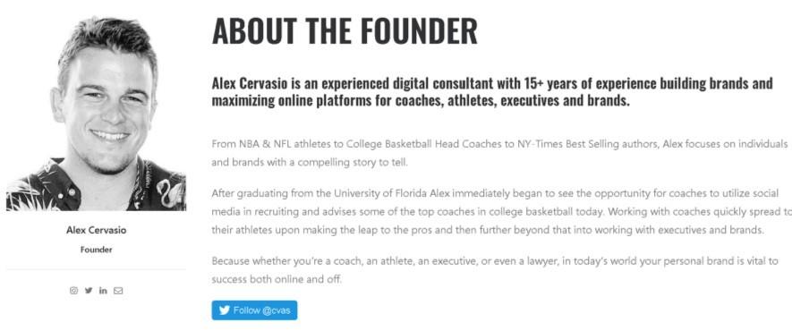 Alex Cervasio bio page