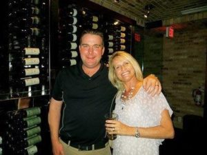 David and Janet in a wine cellar